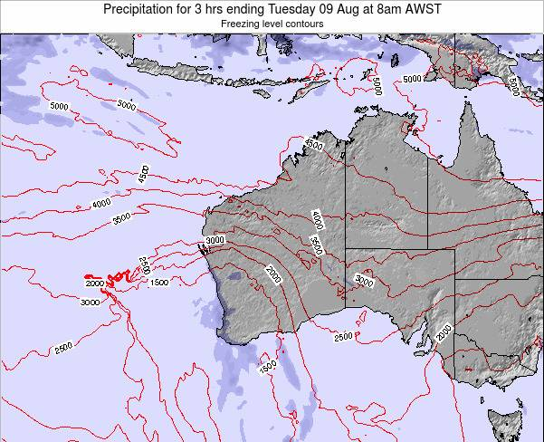 Western-Australia Precipitation for 3 hrs ending Friday 25 Apr at 8am WST map