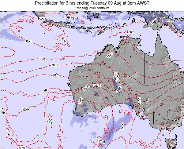 Western-Australia Precipitation for 3 hrs ending Thursday 13 Mar at 2am WST map