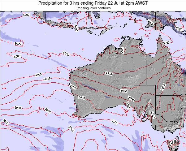 Western-Australia Precipitation for 3 hrs ending Friday 25 Apr at 8am WST