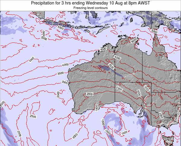 Western-Australia Precipitation for 3 hrs ending Monday 28 Apr at 8am WST map