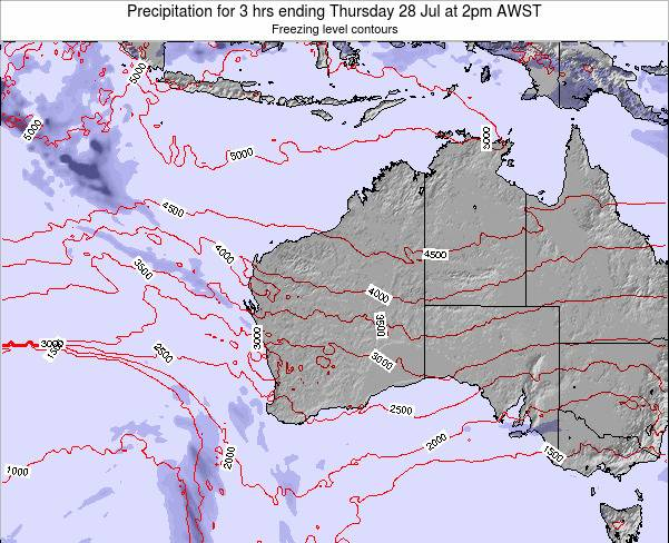 Western-Australia Precipitation for 3 hrs ending Tuesday 29 Jul at 8am WST