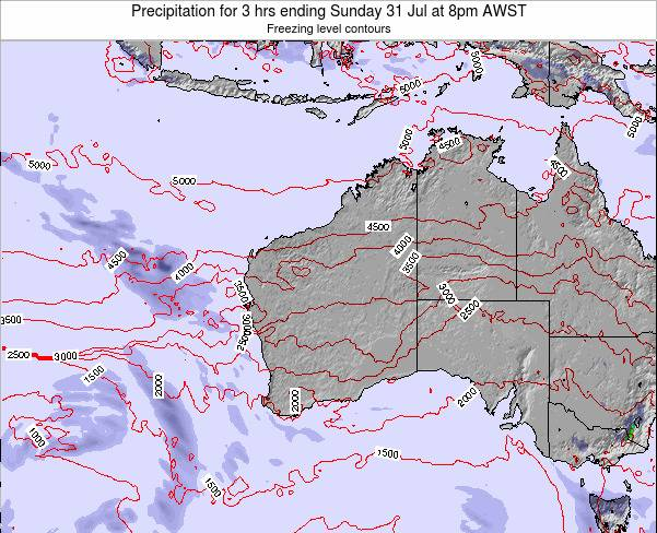 Western-Australia Precipitation for 3 hrs ending Monday 28 Apr at 8pm WST