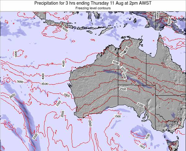 Western-Australia Precipitation for 3 hrs ending Sunday 26 May at 8pm WST map