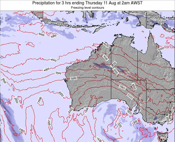 Western-Australia Precipitation for 3 hrs ending Tuesday 05 Aug at 8pm WST map