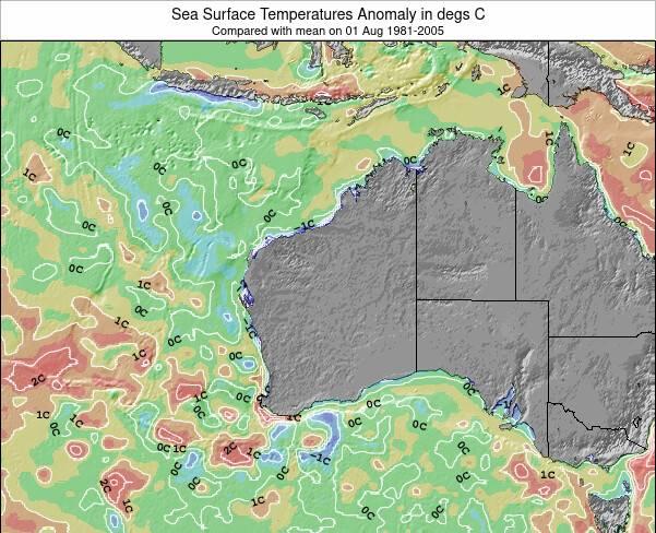 Austrália Ocidental Anomalia na Temperatura da Superfície do Oceano Mapa