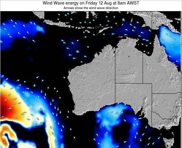 Western-Australia Wind Wave energy on Thursday 28 Jun at 8pm AWST map