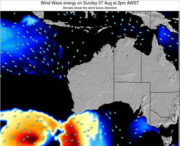 Western-Australia Wind Wave energy on Saturday 01 Jun at 8am WST