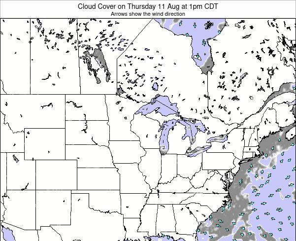 Minnesota Cloud Cover on Wednesday 28 Feb at 12am CST map