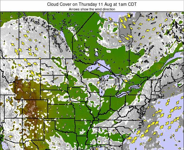 Minnesota Cloud Cover on Tuesday 29 Apr at 1am CDT