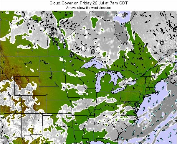 Wisconsin Cloud Cover on Saturday 06 Sep at 1pm CDT