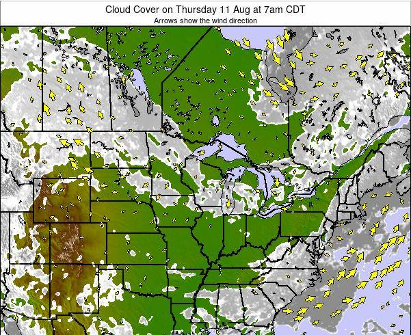 Minnesota Cloud Cover on Wednesday 29 Nov at 6am CST map