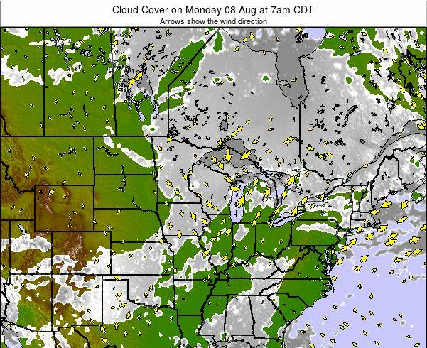 Wisconsin Cloud Cover on Monday 28 Apr at 1am CDT