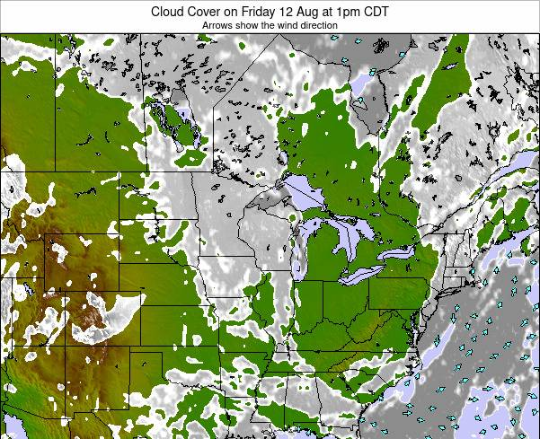 Minnesota Cloud Cover on Sunday 27 Jul at 7pm CDT