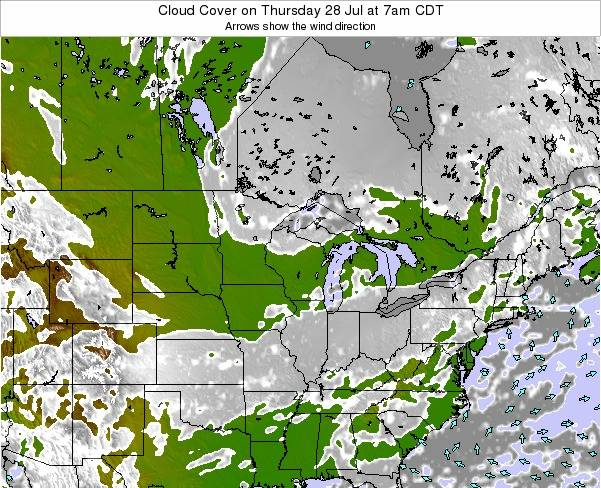 Michigan Cloud Cover on Wednesday 29 May at 7am CDT map