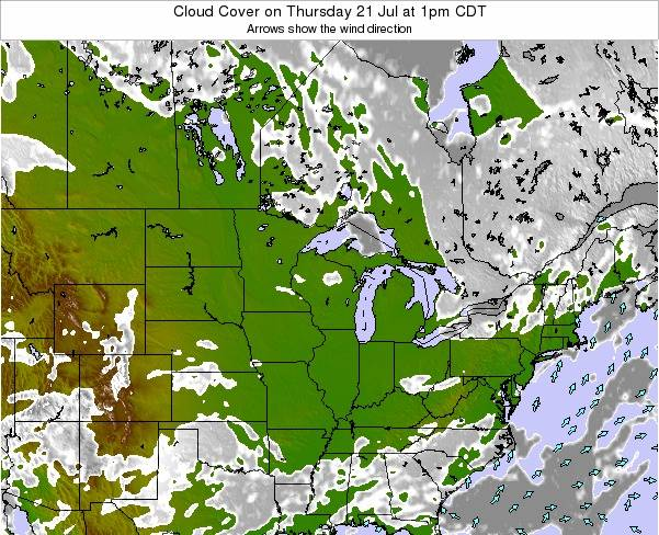 Minnesota Cloud Cover on Friday 23 Feb at 12pm CST map