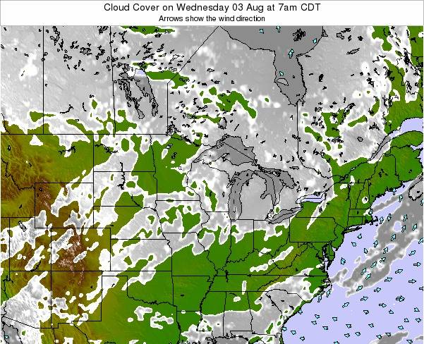Minnesota Cloud Cover on Tuesday 22 Apr at 7pm CDT