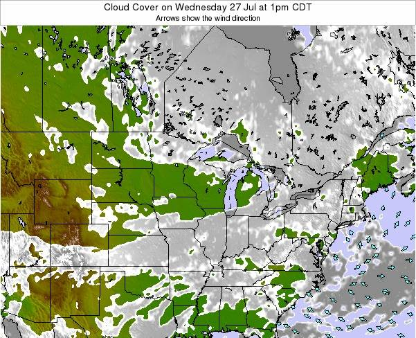 Michigan Cloud Cover on Monday 27 May at 7pm CDT