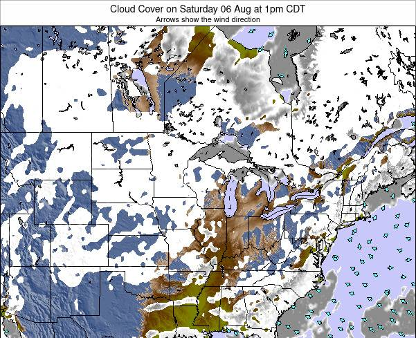 Minnesota Cloud Cover on Monday 28 Apr at 1pm CDT