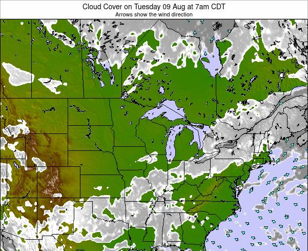 Wisconsin Cloud Cover on Thursday 20 Jun at 1am CDT