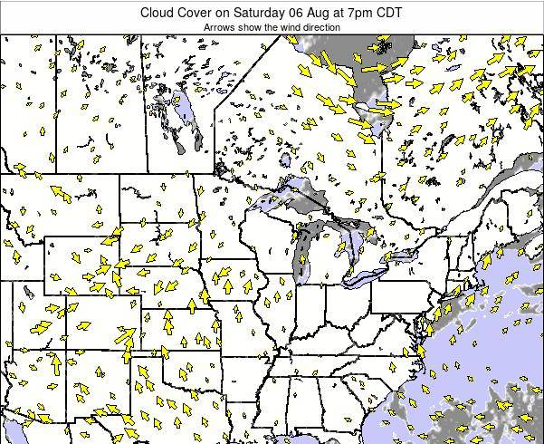 Wisconsin Cloud Cover on Wednesday 27 Aug at 7am CDT