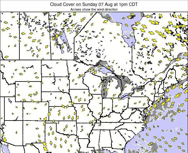 Michigan Cloud Cover on Tuesday 21 May at 7pm CDT map