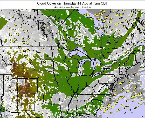 Minnesota Cloud Cover on Monday 06 Oct at 1am CDT