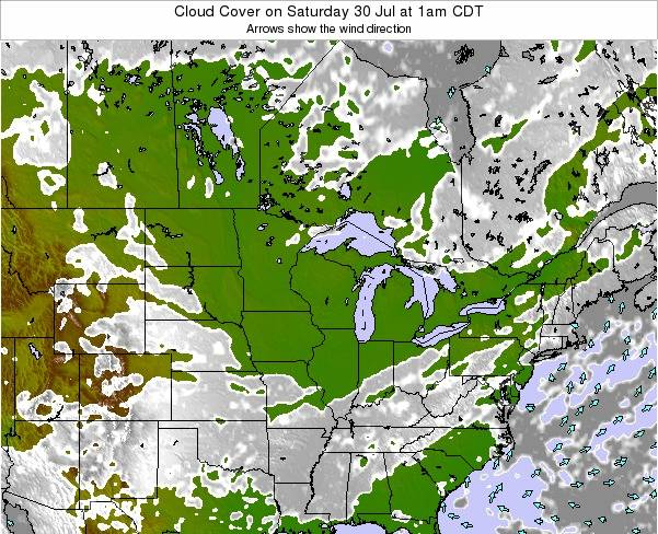Minnesota Cloud Cover on Friday 23 Feb at 6am CST map