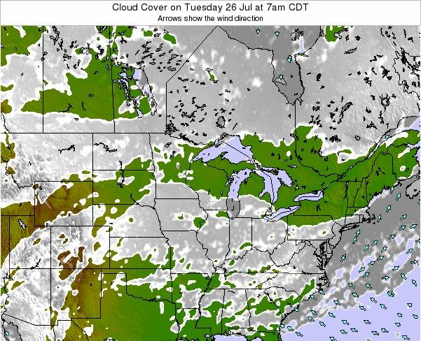 Minnesota Cloud Cover on Friday 14 Mar at 7pm CDT