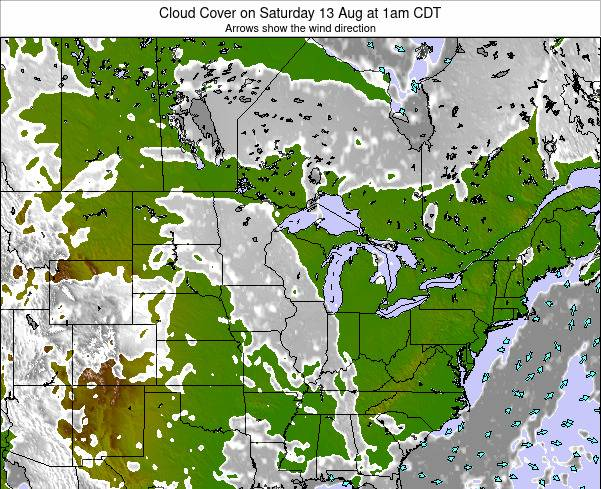 Minnesota Cloud Cover on Thursday 01 Jun at 7pm CDT