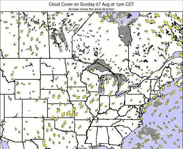 Minnesota Cloud Cover on Sunday 27 Jul at 1pm CDT