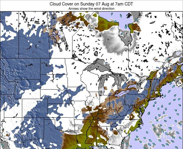 Minnesota Cloud Cover on Monday 04 Aug at 7am CDT