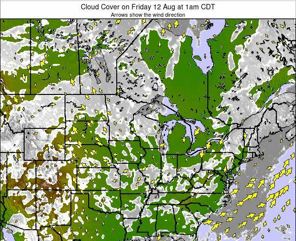 Minnesota Cloud Cover on Monday 04 Aug at 1pm CDT