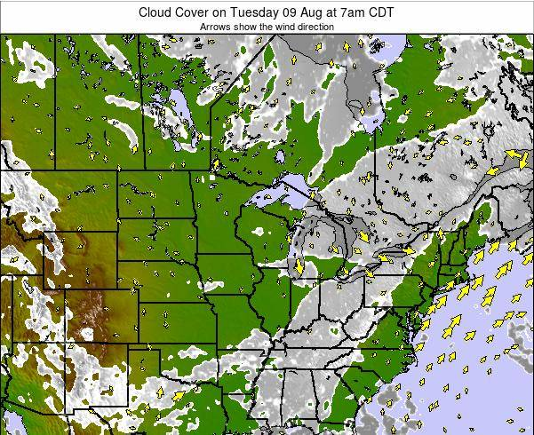 Minnesota Cloud Cover on Monday 24 Sep at 1pm CDT map