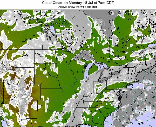 Minnesota Cloud Cover on Monday 21 Apr at 7am CDT