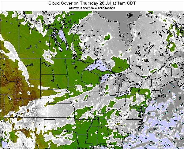 Wisconsin Cloud Cover on Thursday 31 Jul at 7pm CDT