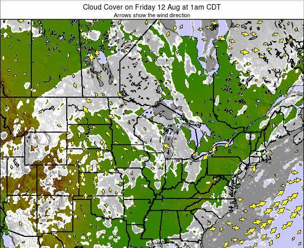 Wisconsin Cloud Cover on Friday 07 Nov at 1am CDT
