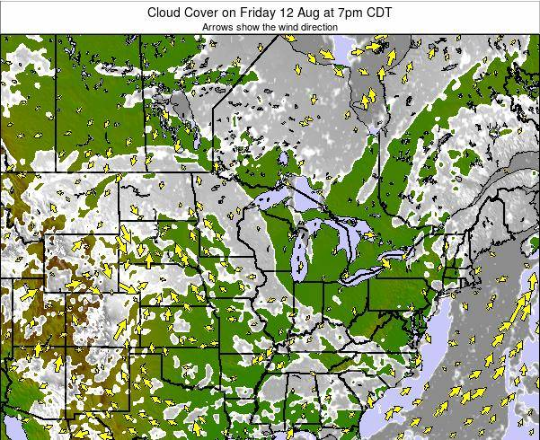 Wisconsin Cloud Cover on Tuesday 28 May at 1am CDT