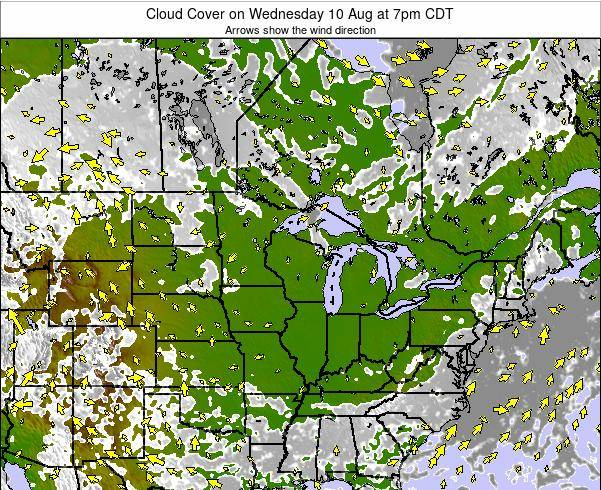 Wisconsin Cloud Cover on Sunday 03 Aug at 1am CDT