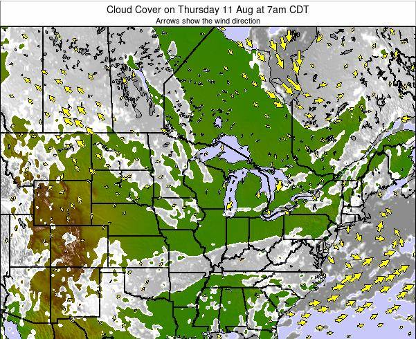 Wisconsin Cloud Cover on Wednesday 24 Dec at 12pm CST