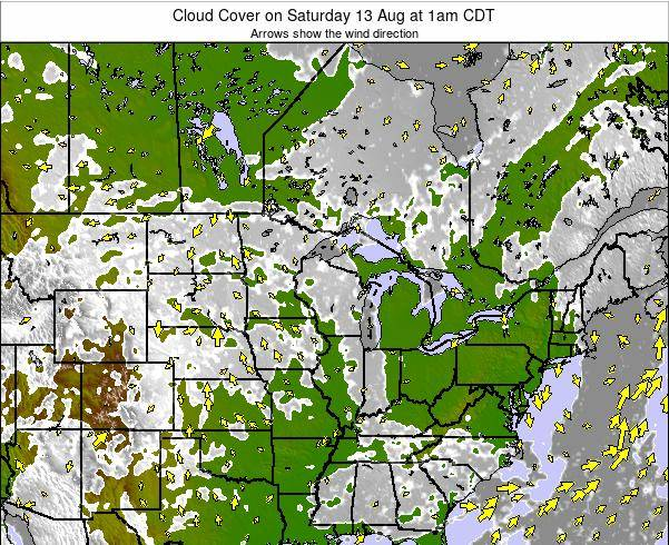 Minnesota Cloud Cover on Wednesday 24 Oct at 1am CDT map