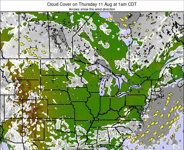 Wisconsin Cloud Cover on Thursday 21 Dec at 6am CST map
