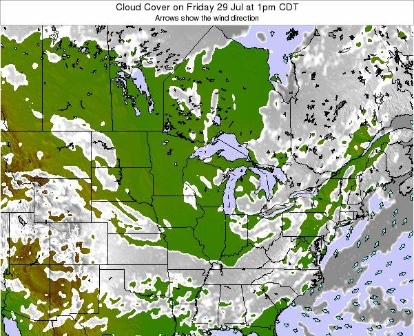 Minnesota Cloud Cover on Tuesday 18 Mar at 1pm CDT