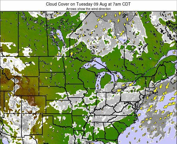 Minnesota Cloud Cover on Tuesday 13 Oct at 7am CDT