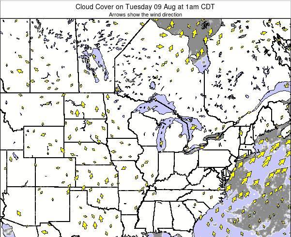 Minnesota Cloud Cover on Wednesday 23 Apr at 7am CDT