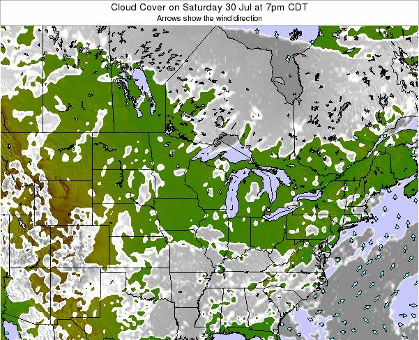 Minnesota Cloud Cover on Saturday 27 Oct at 7pm CDT map