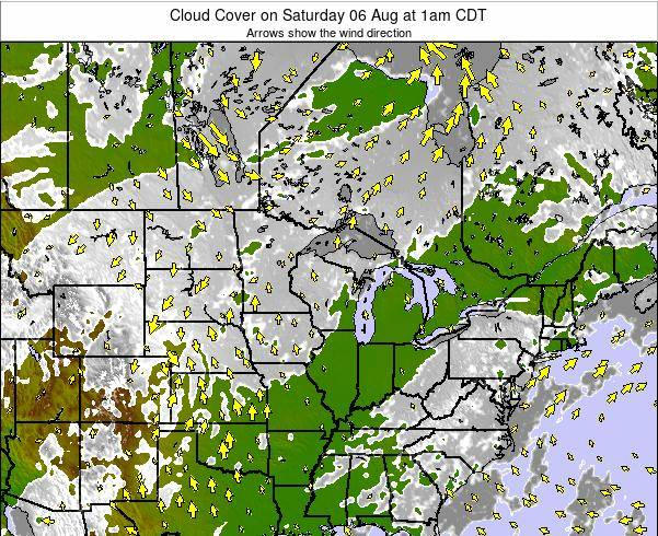 Minnesota Cloud Cover on Monday 21 Apr at 1pm CDT