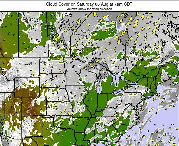 Minnesota Cloud Cover on Sunday 08 Dec at 6pm CST