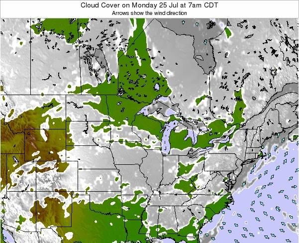 Minnesota Cloud Cover on Wednesday 23 Jul at 1am CDT