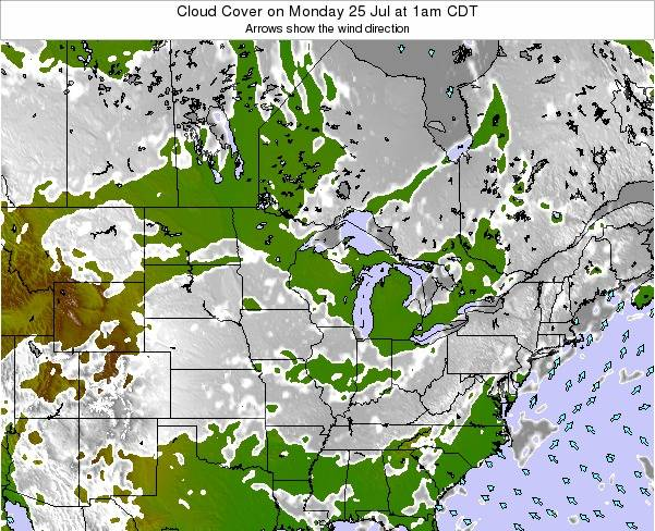 Wisconsin Cloud Cover on Saturday 20 Oct at 7pm CDT map