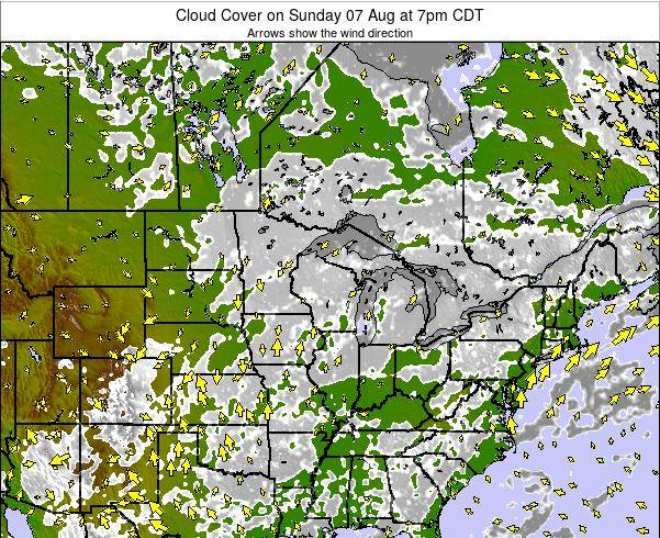 Minnesota Cloud Cover on Monday 15 Oct at 7pm CDT map